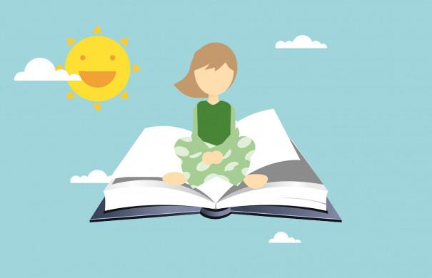 meisje leest boek in yogahouding